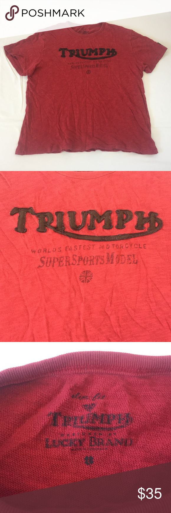 Triumph Motorcycles T-Shirt Pre-owned, in good condition, Men's Slim Fit Large, Red Triumph Motorcycles T-Shirt made by Lucky Brand. Please refer to photos for condition and details. Lucky Brand Shirts Tees - Short Sleeve