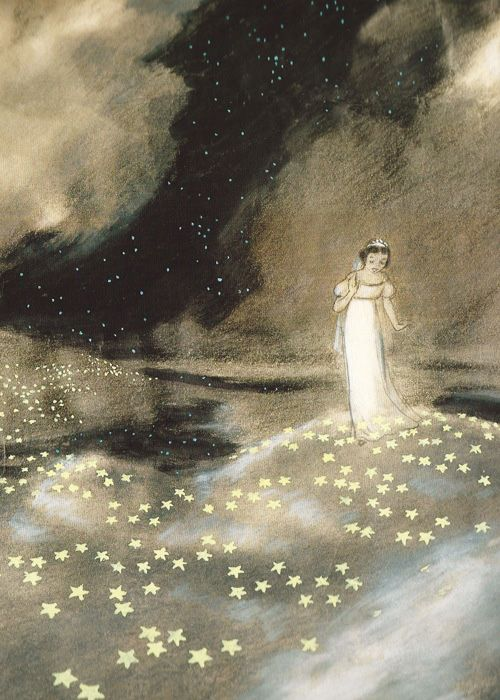 He lays down a carpet of sparkles, lighting her path, so why can't he see the light? ~ETS    (Concept art for Snow White and the Seven Dwarfs (1937))