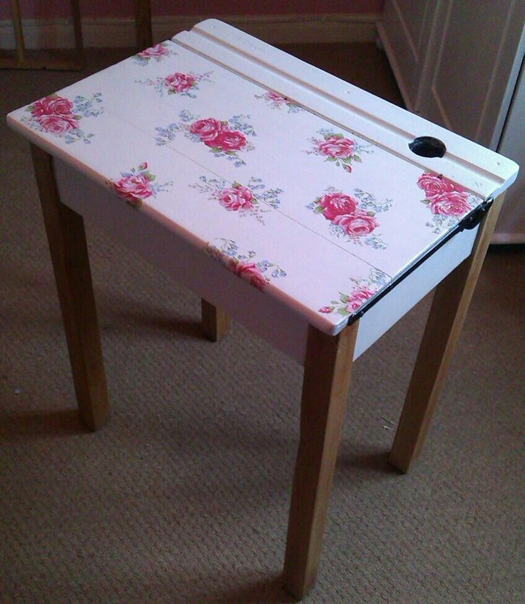 Vintage school desk, painted white and decoupaged with cath kidston napkins!!