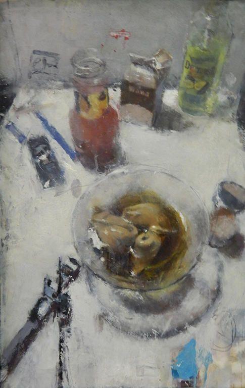 "Catherine Mulligan, ""Still Life with Wonton Soup 1"", Oil on Masonite, 14"" x 10"", 2013 http://www.thefangallery.com/content/catherine-mulligan"