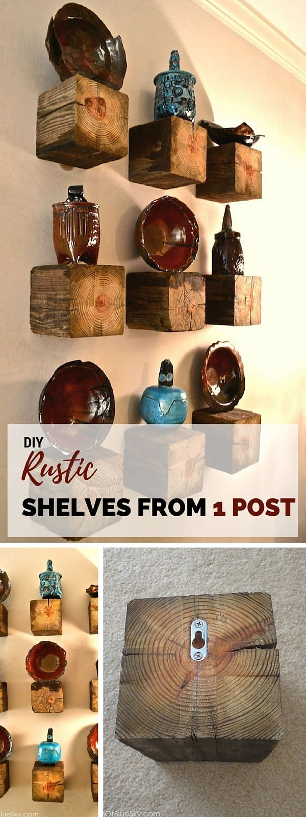 Rustic shelves from one post.  LakeTyeDye says: change up the look by using different wood stains.