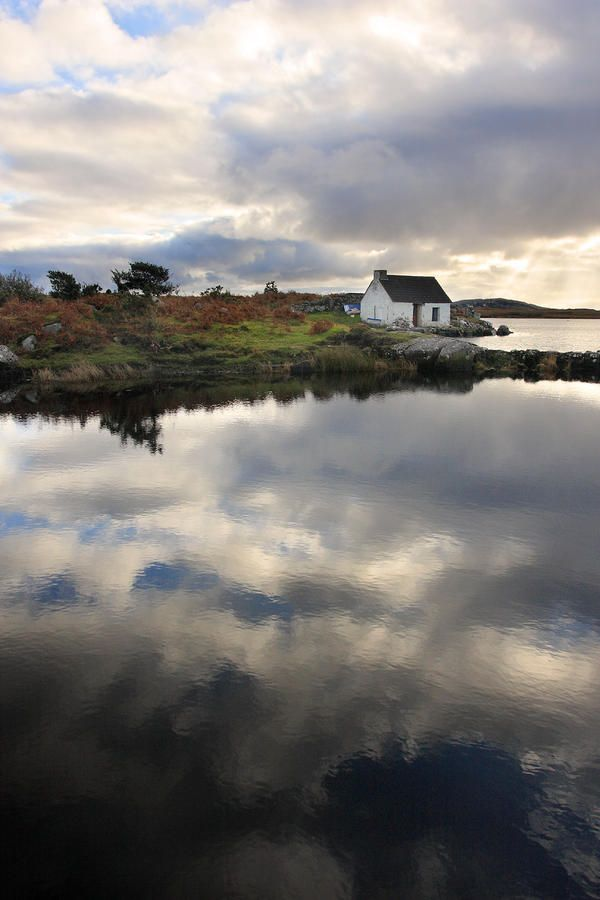 Reflection of a fishing cottage in Connemara Ireland Fine Art Print - Pierre Leclerc