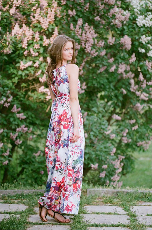 Летний сарафан UONA.RU Яркие цветы! Лето! #шелк #лето #длинное платье # туника #стильно #мода #Москва
