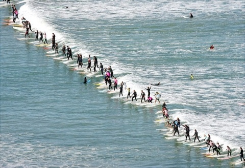 105 people from South Africa broke the Guinness World Record when simultaneously surfing one wave at Muizenberg Corner, Cape Town, South Africa on October 4th 2009.