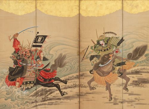 """Race at the Uji River"". Main detail of a screen. Artist Soga Shohaku, about 1760's, Japan. Feinberg Collection, MET"