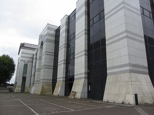 Former QVC headquarters at Marcopolo House in Battersea - an example of eighties post modernist architecture also formerly occupied by BSB and The Observer.
