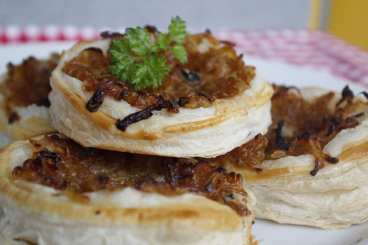 Caramelized onions and blue cheese pies.