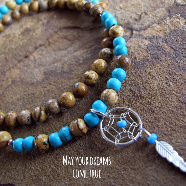 May your dreams come true. Wrap bracelet with sterling silver Navajo Dreamcatcher charm. Picture Jasper and Turquoise howlite beads (4mm). #bracelets #jewelry #handmade #oneofakind #navajo #dreamcatcher #meditation #beads #jewellery #semiprecious #semipreciousstones