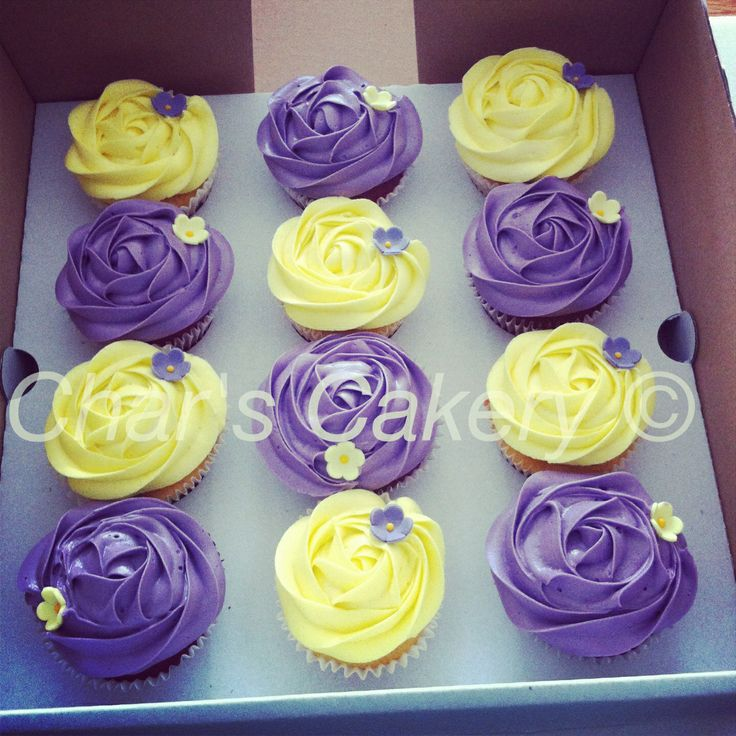 Simple Wedding Cupcake Ideas: Purple And Yellow Cupcakes, Simple And Pretty (: