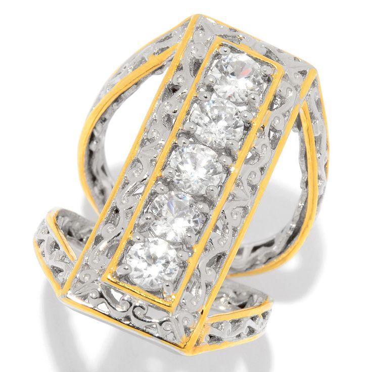 159-129 - Gems en Vogue 2.00ctw White Zircon Elongated Split Shank Ring