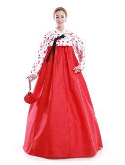 Custom Made Faux Silk Red Flower Evening Party Hanbok Korean Dress