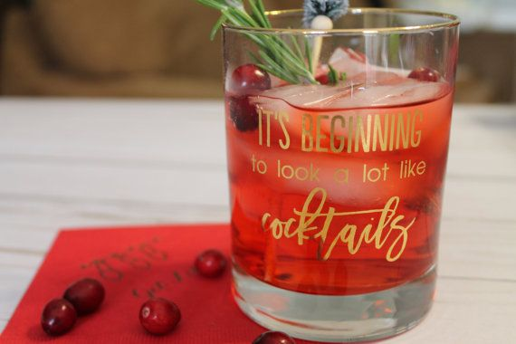 """REAL 22K GOLD FOIL """"It's Beginning to look a lot like Cocktails"""" Double Old Fashion Rocks Glass"""