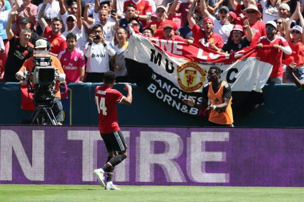 Jesse Lingard of Manchester United celebrates after scoring a goal to make it 01 during the International Champions Cup 2017 match between Real...