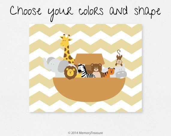 Noahs Ark Nursery Decor Wall Art Print Baby Boy by MemoryTreasure