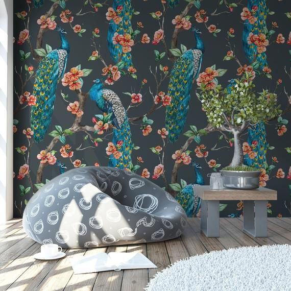 Peacock Wallpaper Chinoiserie Mural Peel And Stick Birds Dark Etsy Peacock Wallpaper Chinese Wallpaper Art Wall Kids