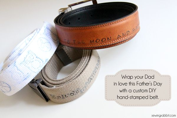 Handmade Fathers Day Gift - DIY Stamped Belts. What a clever idea!