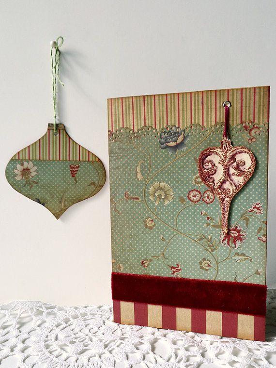 Holiday boho Christmas new year card and gift tag.