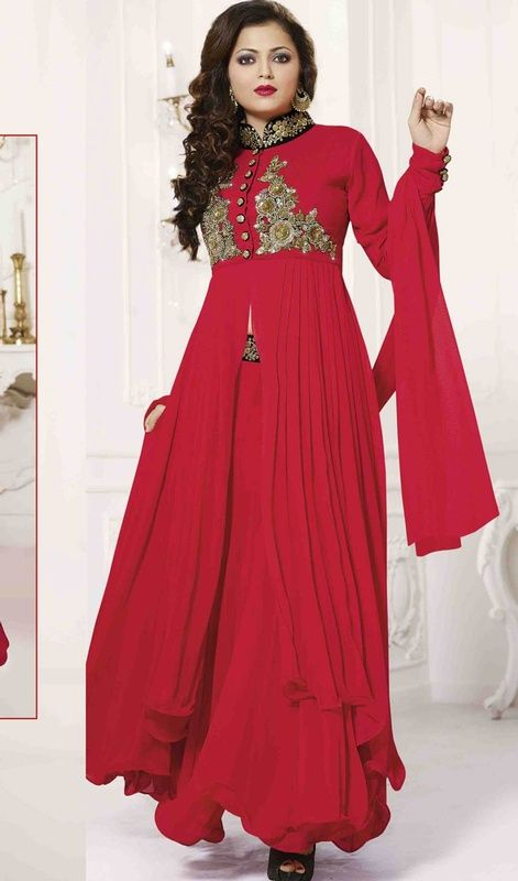 Look striking like Drashti Dhami in this churidar style salwar kameez in red color georgette. The stunning resham, sequins and stones work throughout the dress is awe-inspiring. #StunningRedFlaredAnarkaliSuit