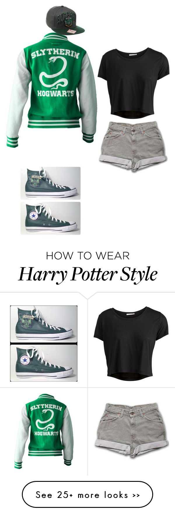 """""""Slytherin Pride"""" by leggs-m on Polyvore featuring Pieces and Converse"""