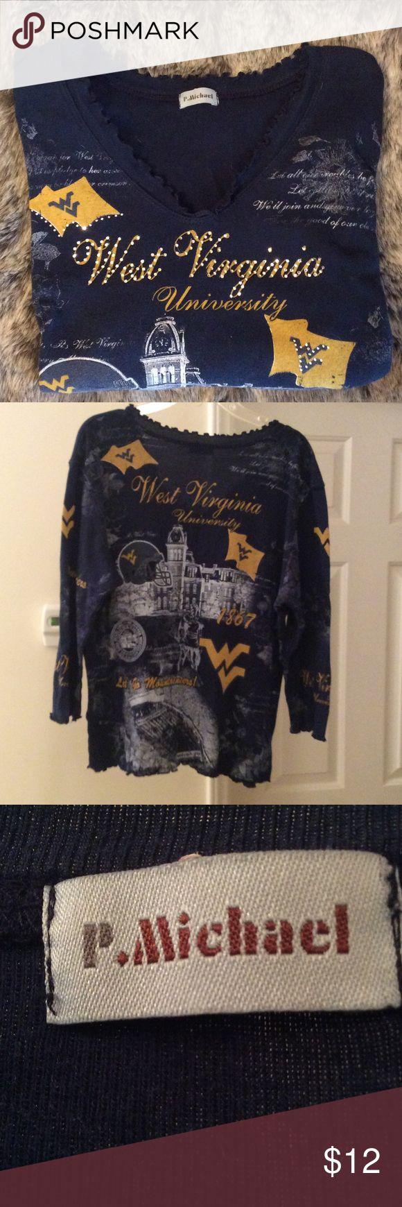 West Virgina University shirt Never worn ruffled WVU college longs sleeve tshirt P. Michael Tops Tees - Long Sleeve