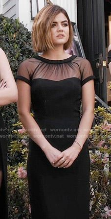 Aria's black illusion dress on Pretty Little Liars.  Outfit Details: https://wornontv.net/55400/ #PLL