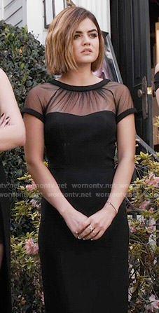 Aria's black illusion dress on Pretty Little Liars.  Outfit Details: https://wornontv.net/55400/ #PLL