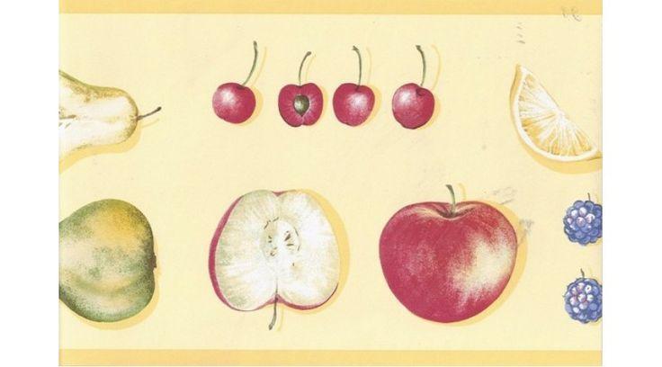 York Wallcoverings Kitchen Bathroom: Yellow Strawberry Apples Wallpaper Border