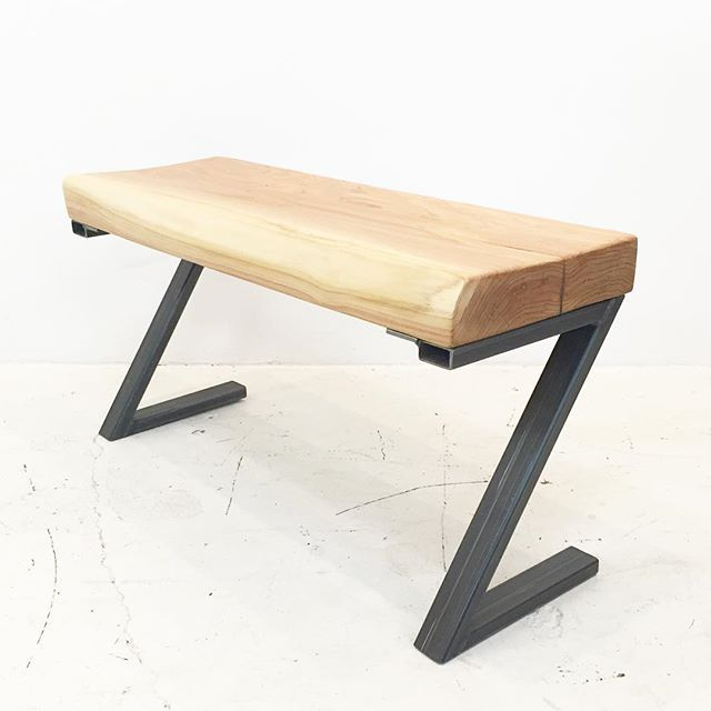 "SOLD • ZigEd Bench 5.0  Reclaimed Atlas Cedar & custom welded steel legs. 36"" x 12"" x 19"" .  Floor Model Sale 