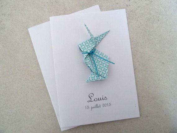 Faire part de naissance - baptême - carte de remerciement lapin en origami pour garçon turquoise - https://www.alittlemarket.com/faire-part/fr_faire_part_de_naissance_bapteme_carte_de_remerciement_lapin_en_origami_pour_garcon_turquoise_-15895112.html