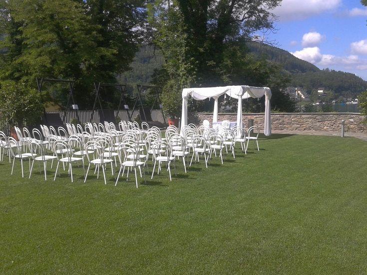 Chuppa zu mieten für Jüdische Hochzeit, hier im Schloss Maria Loretto in Klagenfurt, bei Familie Kulterer von Feine Küche Kulterer.