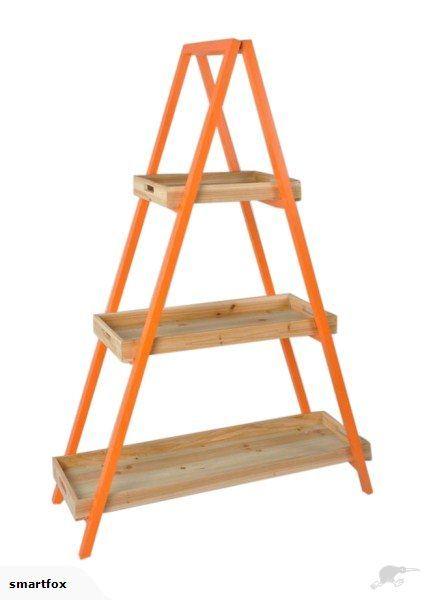 Ladder Shelf Unit Wooden - Orange   Trade Me