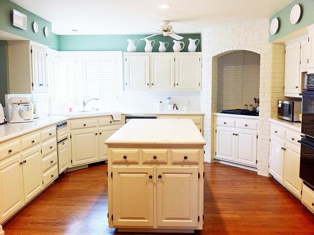 white kitchen...like floor. Sea foam green accent...not ...