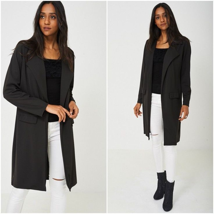 Black Duster Jacket Trench Coat Womens Mac Summer Weight Sizes UK 10 12 14 NEW #Unbranded #TrenchCoat #Outdoor