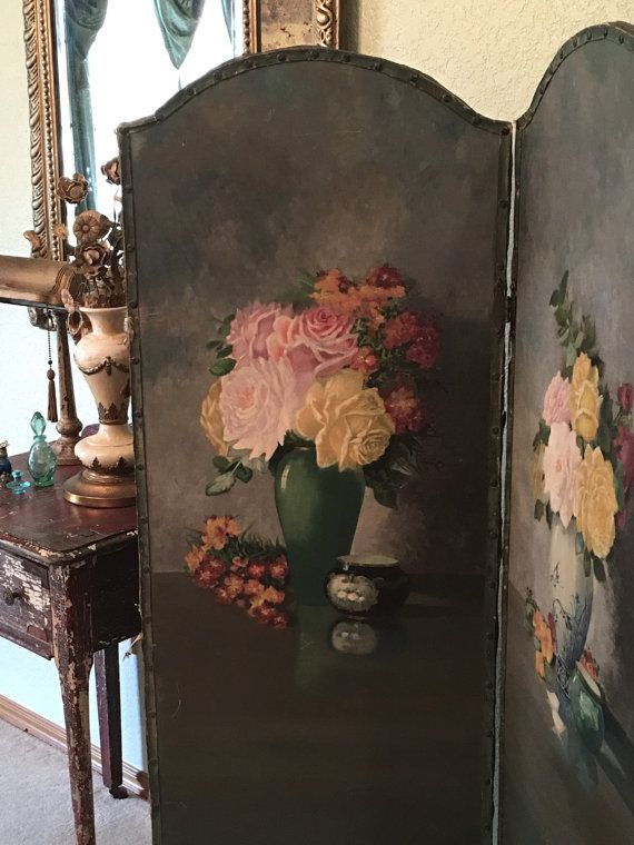 BREATHTAKING! Antique Canvas Dressing Screen Room Divider Handpainted Roses Oil on Canvas RARE FIND 1920's