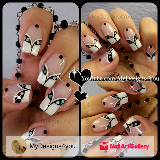 French Tip With A Twist by MyDesigns4you via Nail Art Gallery #nailartgallery #nailart #nails #mixedmedia #french #glitter #blackandwhite #frenchtwist #frenchmanicure #frenchtip #frenchtips #nailartdesigns #mydesigns4you