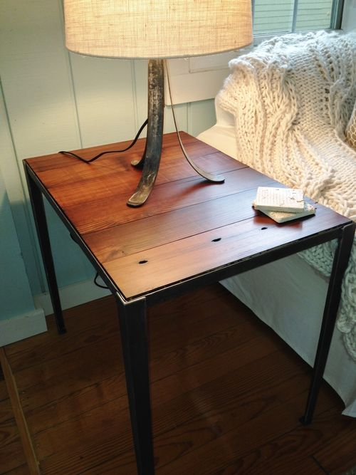 steel angle iron frame with antique heart pine table top