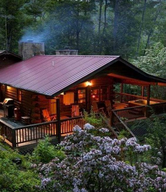 Cabin with outdoor space log homes pinterest wrap for Tiny house with porch