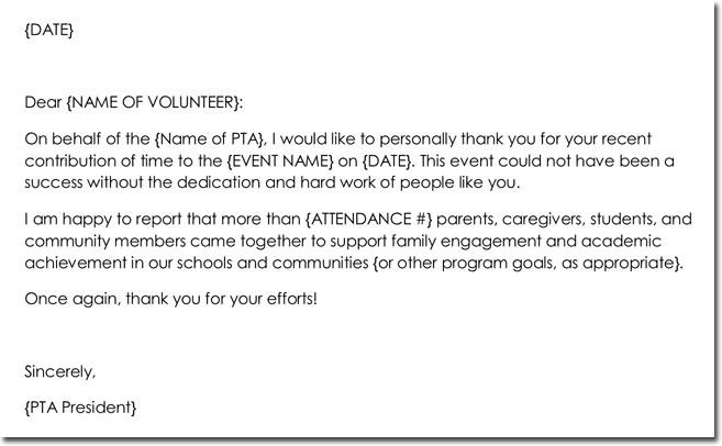 Sample Volunteer Thank You Letters Awesome 14 Volunteer Thank You