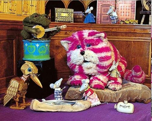 Bagpuss- 1974 Emily, Bagpuss,Gabriel the toad,rag doll Madeleine & wooden woodpecker bookend Professor Yaffle.