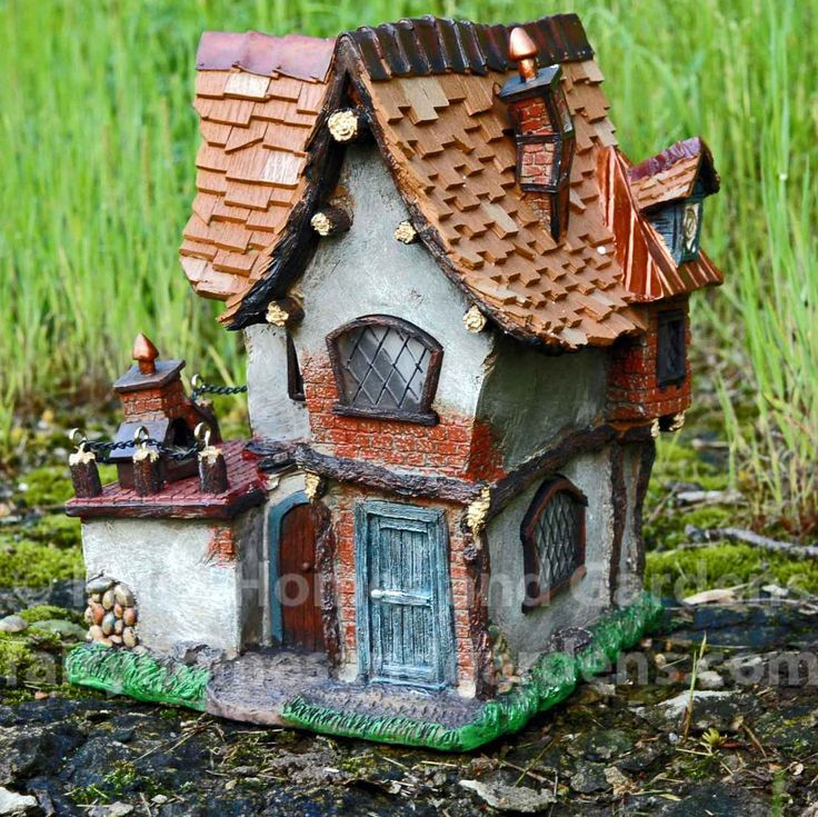 Fairy Homes and Gardens - Large Solar Crooked Cottage, $72.00 (http://www.fairyhomesandgardens.com/large-solar-crooked-cottage/)