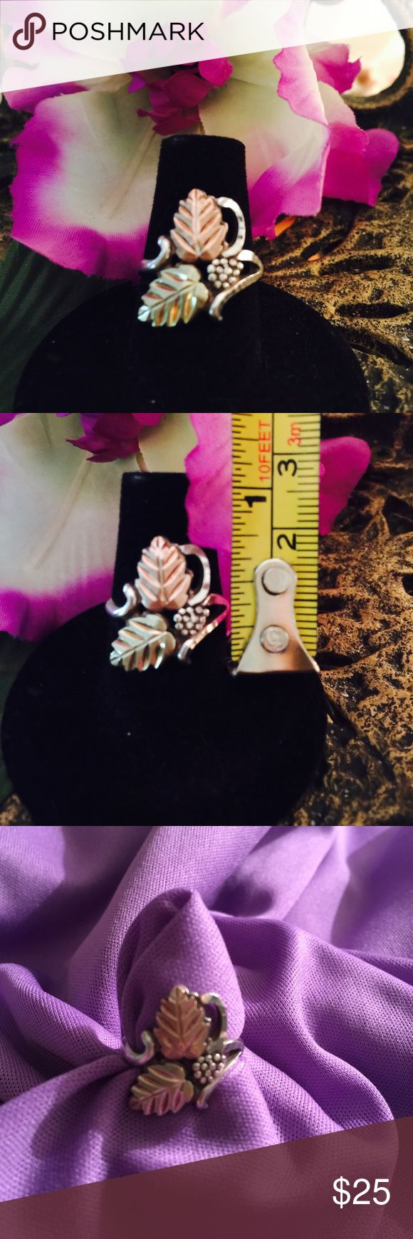 ✨Black Hills Gold✨ .925 Tri-Tone Leaf Ring Two leaves and grape cluster with diamond cutting.  Seldom worn.  One owner.  Sterling Silver.  EUC.  PRICE IS FIRM. Black Hills Gold Jewelry Rings