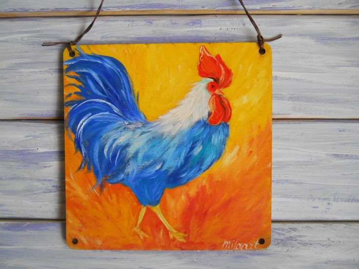 Rooster art Country kitchen ideas Chicken ornaments Rustic Christmas decor Handpainted wood Wall decorations Handmade Farmhouse by MilaPollyart on Etsy