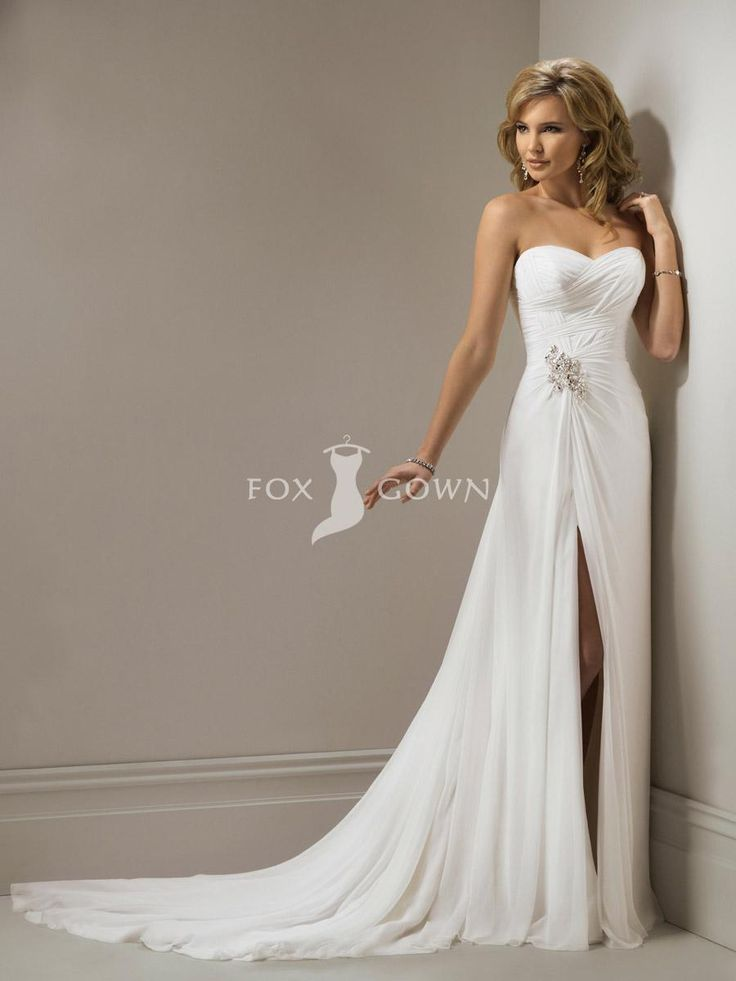 Trending sexy side slit skirt slim wedding dress with fabulous jeweling at waist and back