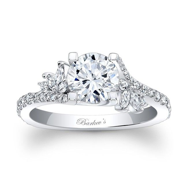 Diamond Engagement Ring - 7908LW - Simply elegant describes this white gold diamond engagement ring.  Featuring a prong set round diamond center graced on each side with a flare of marquise diamonds and round diamonds cascading down the dainty shank  for a touch of sheer elegance.  Also available in rose, yellow gold, 18k and Platinum.