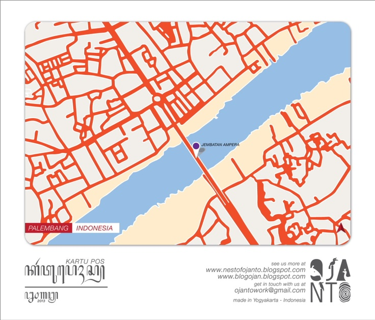 Indonesian City Maps Postcard Series (January 2013) | Palembang - Indonesia | special spot : Jembatan Ampera | Postcard Design by Ojan