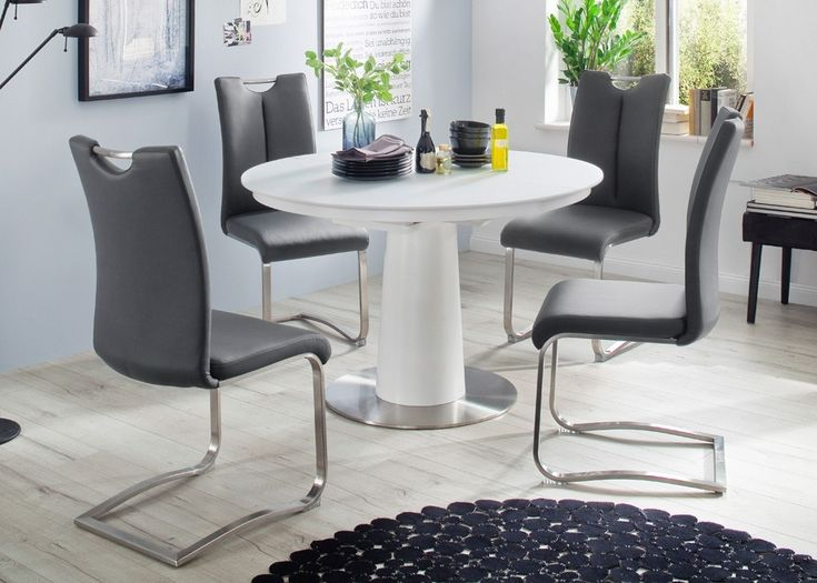 Tischgruppe Varis Tisch Weiß Rund Ausziehbar Mit 4 Stühlen Grau 22459. Buy  Now At Https