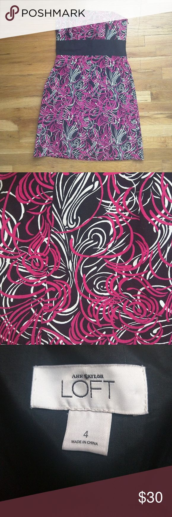 Ann Taylor LOFT Dress Size 4 Strapless Pink and black, excellent condition. Missing belt. LOFT Dresses Mini