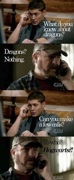 Lol haha funny pics / pictures / Supernatural Humor / Dean / Bobby / Harry Potter