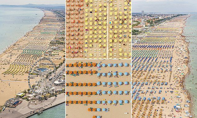 Beautiful aerial shots of sun worshippers create abstract patterns