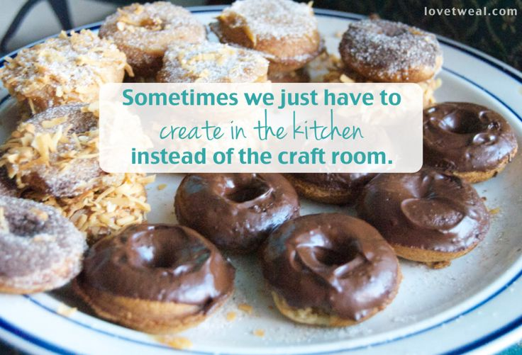 Creativity In Other Rooms. Sometimes you just have to create in the kitchen instead of the craft room. Who doesn't love donuts? Especially homemade ones with chocolate sauce, toasted coconut, cinnamon sugar, and made with whole ingredients like brown rice flour and coconut oil. Healthy donuts, for real. Ok, healthier donuts. Darn tasty too.